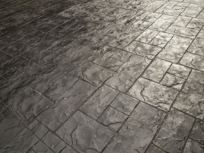 Stamped concrete patio for a new outdoor space